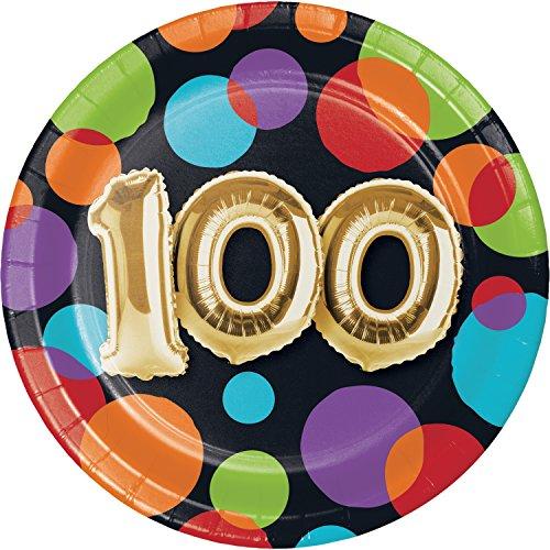 Balloon 100th Birthday Dessert Plates, 24 ct