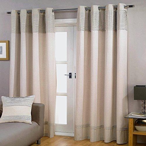GYROHOME Paire de rideaux occultants en coton et lin plissés avec double couche de fil doré et coutures en fer