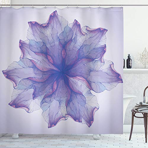 ABAKUHAUS Blume Duschvorhang, Blühende Blütenblätter Muster, mit 12 Ringe Set Wasserdicht Stielvoll Modern Farbfest & Schimmel Resistent, 175x200 cm, Lila Dunkel Lila & Lavendel