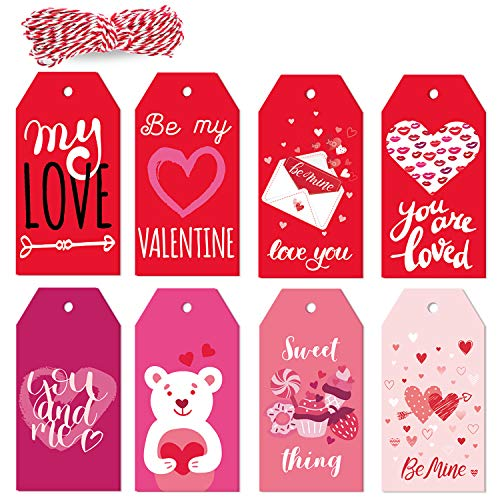 Adurself 160Pcs 8 Styles Valentine Paper Gift Tags Red Pink Kraft Gift Tags Hang Labels with 98ft String for Valentine's Day Wedding Party Favor Gift Wrapping