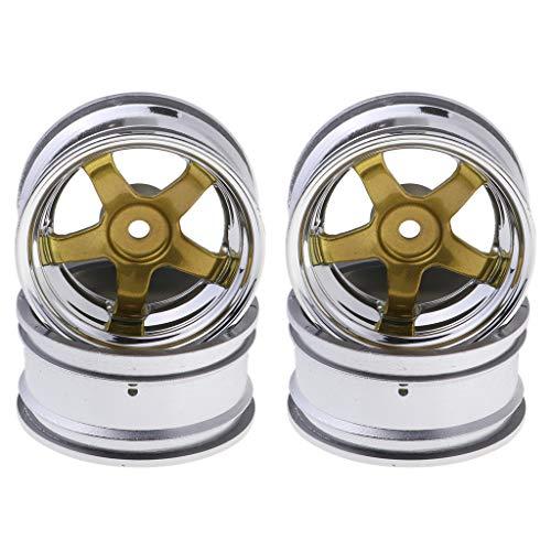 4pcs Metall Wheel Rim/Reifen Felgen Ersatzteile für 1:10 RC Drift Auto - Gold