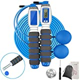 Douding Skipping Rope with Weighted Bars, Adult Adjustable Tangle-free Jump Rope with Multifunctional