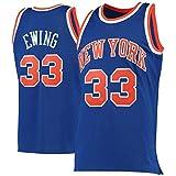 ZJFSL Hombres NBA Baloncesto Jersey Knicks # 33 Patrick Ewing Azul Retro Malla Jersey Sin Mangas Bordado Baloncesto Chalecos Tops Camisetas