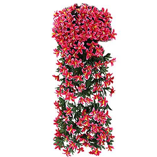 CJFael 2 flores artificiales artificiales de ratán para colgar en la pared, decoración de ventana, jardín, boda, fiesta, decoración de color rojo rosa