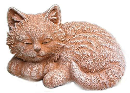 Steinfigur Katze Mini,156/3 Gartenfigur Steinguss Tierfigur Terrakotta Patina