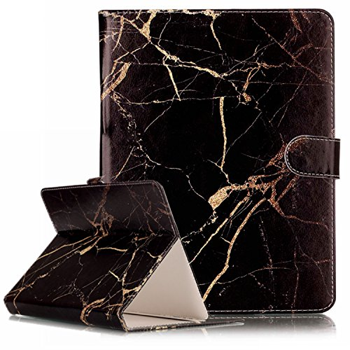 Universal Folio Case for 7.5-8.5 Inch Tablet, Techcircle Slim Light Standing Cover Protective Leather Case for iPad Mini 1 2 3 4 / Samsung Galaxy Tab/Huawei Android Windows Tablet, Black Marble