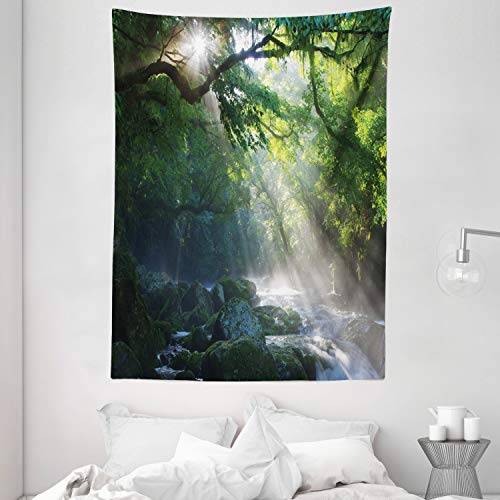 Ambesonne Green Tapestry Rainforest Decorations, Stream in The Jungle Stones Under Shadows of Trees Sunlight with Mother Earth Theme Tropical Rain, Bedroom Living Room Dorm Wall Hanging, White