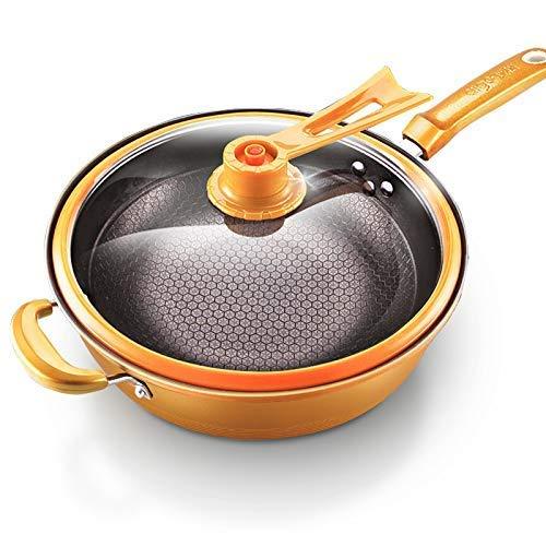 GAXQFEI Wok Vacío Wok Non Stick Sartén con Tapa sin Aceite Smoke Pot Iron Pot Pot Cocina Hogar Cocina de Inducción 32 cm