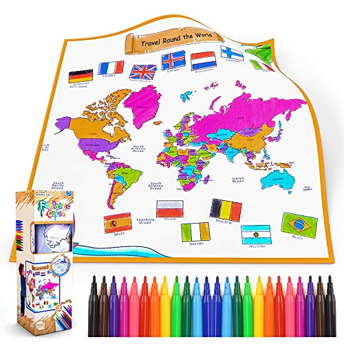 Malen Spielzeug Malspiel für Kinder Poster zum Ausmalen color game Geschenk für 3-6 Jungen Jahre Mädchen Kinder Pädagogische Geografische Farbseiten Spielzeug Alter 5-8 Jahre Junge Neujahrsgeschenke