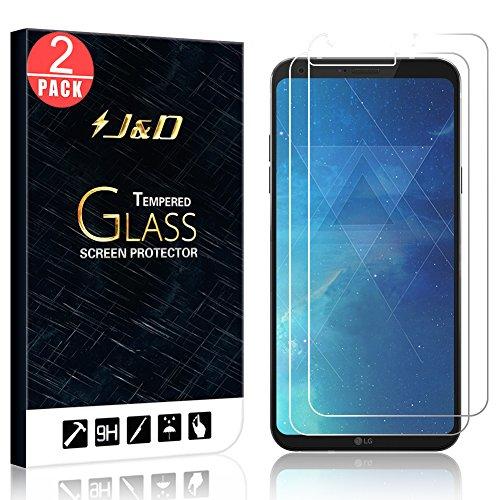 J&D Compatible para 2 Paquetes LG Q6 Protector de Pantalla, [Cristal Templado] [NO Cobertura Completa] HD Claro Vidrio Balístico Protector de Pantalla para LG Q6