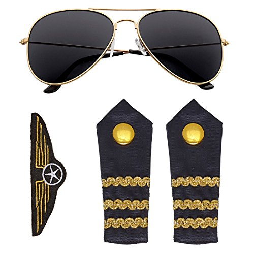 NET TOYS Piloten Kostüm Set mit Sonnenbrille, Schulterklappen und Abzeichen Fliegerabzeichen Pilot Flugkapitän Rangabzeichen Epauletten
