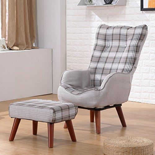 Lazy sofa 360 ° Rotate Pliable Pliant Loisir Canapé Chaise Femmes Enceintes Allaitement Chaise Fauteuil Individuel avec Ottoman -LI Jing Shop (Couleur : Gris foncé)
