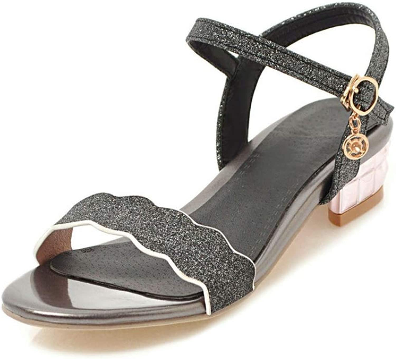 T-JULY Sequined Cloth Women Sandals Simple Buckle Summer shoes Casual Square Heels shoes
