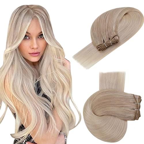 Easyouth Ombre Echthaar Tressen Zum Einnähen 12 Zoll Farbe Aschblond Mischen Sie mit Mittelblond und Platinblond 70g Human Hair Bundles Haartressen Echthaar