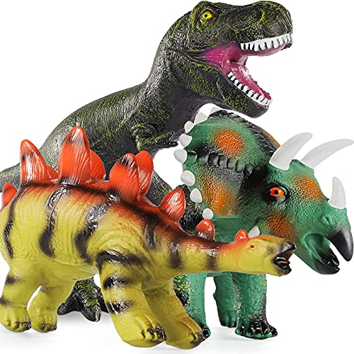 Baby Home 3Pcs 16'' Huge Dinosaur Toys - Realistic Looking Dinosaur Figures,Including Jurassic T-Rex Triceratops Stegosaurus,Inflatable & Soft & Drop Resistance,w/ 2 Pumps,Gifts for Kids Boys & Girls