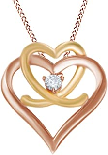 Natural Diamond Accent Interlocking Double Heart Pendant Necklace in 925 Sterling Silver