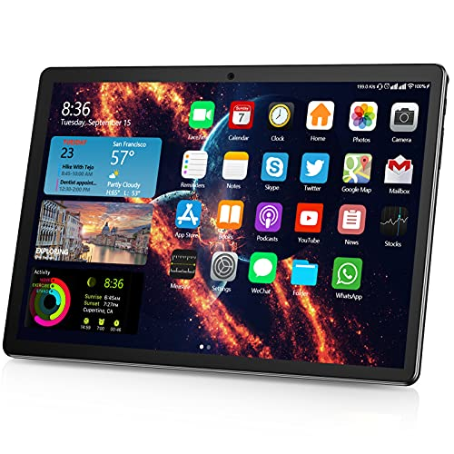 Tablet 10 Inch, Dual SIM Android 9.0 Quad Core Processor Tablets, 32GB ROM 6000mAh Battery Google Certified HD Tablet, Support 128GB Memory Storage Expand, WiFi, Bluetooth, GPS