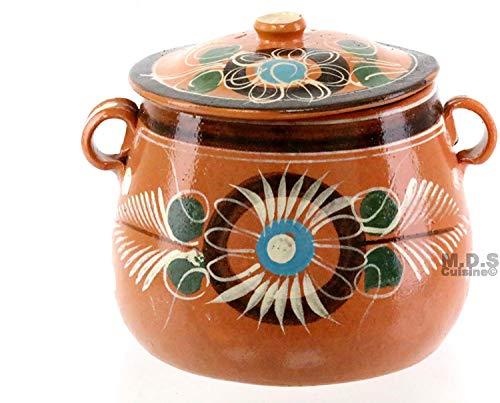 Olla Frijolera De Barro w/Lid 5.5 Qt. Canterito Cazuela Casserole Traditional Floral Decorative Artisan Lead Free