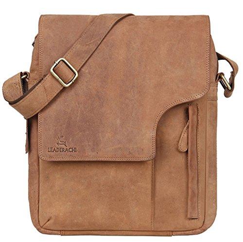 Leaderachi - 100% Pure Genuine Real Vintage Hunter Buffalo Leather Handmade Men Crossover Shoulder Messenger Bag [