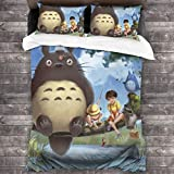Stylish Ultra-Soft 3-Piece Bedding Set 86x70 in, Warm Cozy Anime Blanket, Anime My Neighbor Totoro Mei Kusakabe Poster Set with 1 Duvet Cover 2 Pillow Shams for Kids Bedroom Hotel