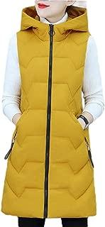 Women Casual Zipper Long Puffer Hooded Down Vest Sleeveless Coat