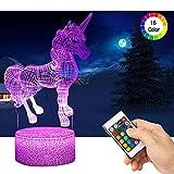 Licorne 3D Lampes avec Télécommande, QiLiTd LED Lampe 16 couleurs Lumière Dimmable...