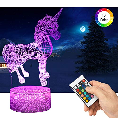 LED Lámpara de Mesa 3D Unicornio con Control Remoto Sensor Tacto, QiLiTd Regulable Lámpara de Noche de Atmósfera Modo RGB, Decoracion Cumpleaños, Navidad Regalos de Mujer Bebes Hombre Niños Amigas
