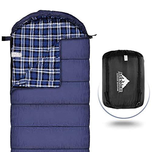 Baumwoll-Flanell-Schlafsack für Erwachsene, 100% Baumwollfutter-Schlafsack für Camping, Wandern, Rucksackreisen, leicht und tragbar, 3-4 Jahreszeiten bei warmem Wetter (Blau/Blau)