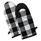 DII Buffalo Check Plaid Oven Mitts, Heat Resistant for Everyday Kitchen Cooking and Baking, Perfect for Holidays or Hostess & Housewarming Gifts (13x6' - Set of 2), Black & White
