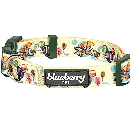 Blueberry Pet Rêve d'altitude Avion & Montgolfière Collier de créateur en Mousse au Citron, Moyen Modèle, Tour de Cou 37cm-50cm