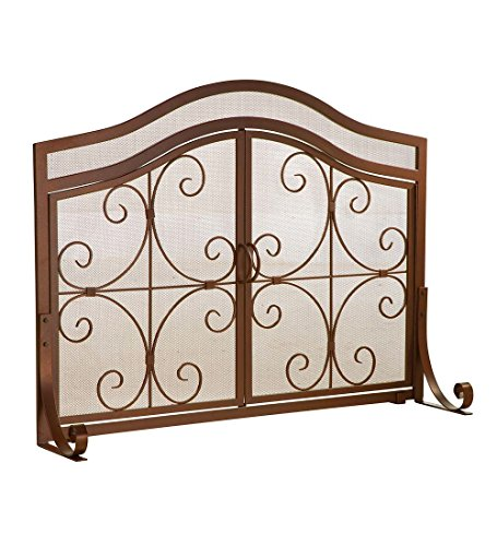 Plow & Hearth Small Crest Fireplace Screen with Doors, Solid Wrought Iron Frame with Metal Mesh, Decorative Scroll Design, Free Standing Spark Guard 38 W x 31 H x 13 D, Copper Finish