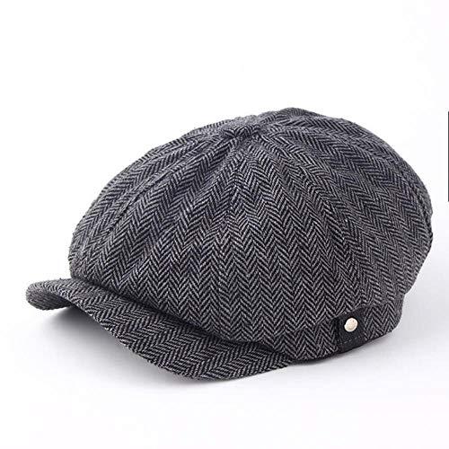 Fashion Gentleman Octagonal Cap Newsboy Beret Hat Autumn and Winter for Men's Jason Statham Male Models Flat Caps,Dark Grey