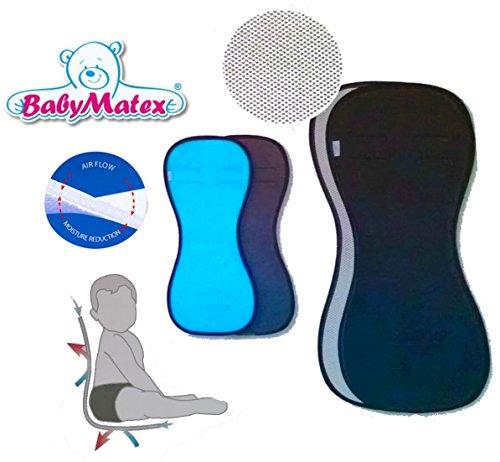 BabyMatex, PADDIX multifunctioneel, ademend, anti-allergische stoelbekleding, stoelbekleding, AERO MESH 3D-systeem, universeel voor babyschaal, kinderzitje, bijv. voor Maxi-Cosi, fietsstoel etc. 70x34/22 cm ( breiteste bzw schmalste Stelle ) zwart