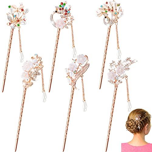 6 Palillo de Pelo de Perlas Diamantes de Imitación Palillos Chinos para Cabello Pasador Vintage de Pelo con Borlas de Flores para Moño Accesorios de Peinado de Perlas de Oro Rosa de Cristal