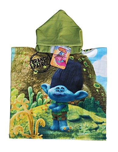 DreamWorks Trolls - Diseño Branch Poncho-Toalla Infantil Microfibra con Capucha, 50x100 cm Toalla, 50x50 cm Poncho.