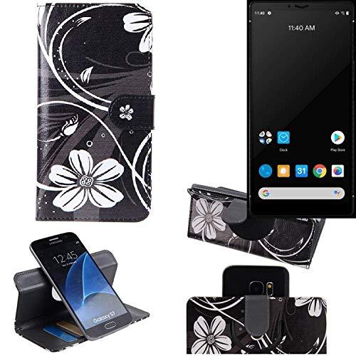 K-S-Trade® Schutzhülle Für Carbon 1 MKII Hülle 360° Wallet Hülle Schutz Hülle 'Flowers' Smartphone Flip Cover Flipstyle Tasche Handyhülle Schwarz-weiß 1x