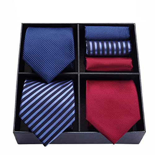 HISDERN Lote 3 PCS Corbata de hombre Cheque de lunares Fiesta de bodas de color solido a rayas Panuelo Corbata y Bolsillo Cuadrado - Conjuntos multiples