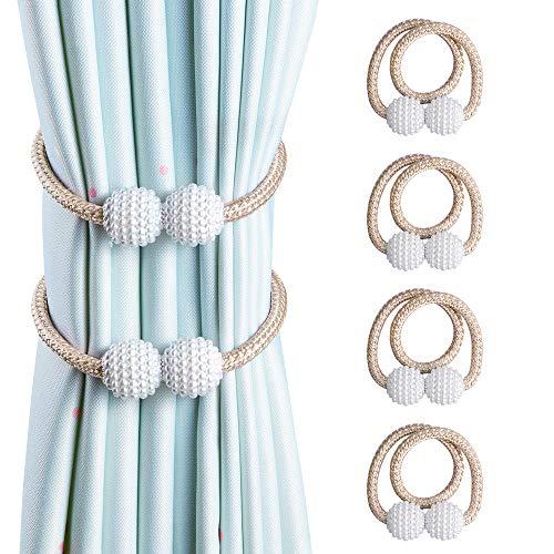 OTHWAY Vorhang Raffhalter Magnetisch, 4 Stück Vorhanghalter Elegante Perlenperle Holdbacks Gardinenklammern mit Starken Magnet (Beige, 4 Stück)