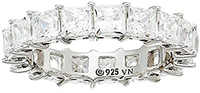 Platinum-Plated Sterling Silver Princess Cut All-Around Band Ring made with Swarovski Zirconia (5 cttw), Size 8