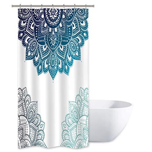 Riyidecor Henna Mandala Shower Curtain South Asian Blue White Flower Bathroom Decor Fabric for Bathtub 36x72 Inch Included 12 Pack Plastic Shower Hooks