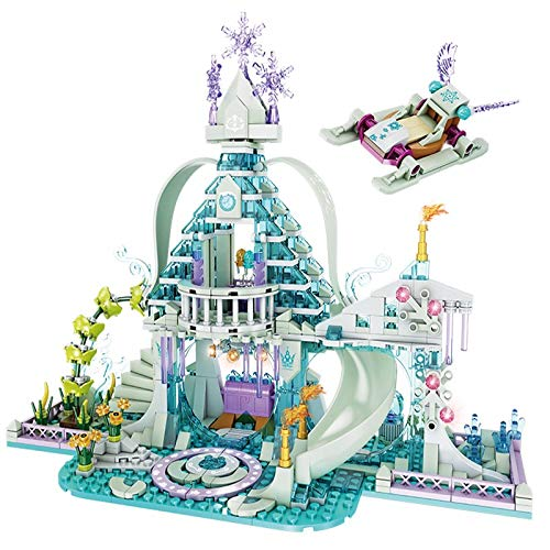 aolongwl Bloques de construcción Friends Series Building Blocks Crystal House Set Ice Snow Magic Castle Figura De Acción Carruaje Princesa Palacio Juguetes Niñas Regalo