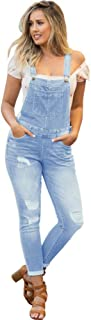 NioBe Clothing Women's Juniors Rolled Cuffs Ankle Length Distressed Denim Overalls