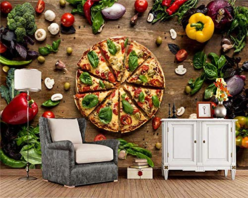 Moderne wanddecoratie Fast Food Pizza groenten eten 3D fotobehang, woonkamer keuken Fast Food Shop Café restaurant KTV bar behang 350 * 245Cm