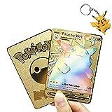 Vivid Voltage Rainbow Pikachu VMAX Custom Gold Metal Pokemon Card + Keychain