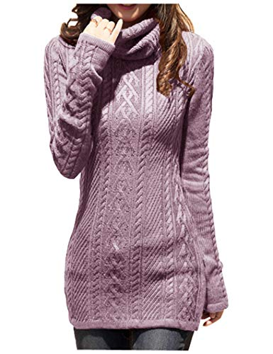 v28 Women Polo Neck Knit Stretchable Elasticity Long Slim Sweater 0-4,Orchid