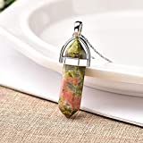 Zhongrun 1 pieza de cristal natural de cuarzo rosa colgante de punto de cristal mineral joyería pareja DIY amantes regalos para hombres mujeres collar de joyería
