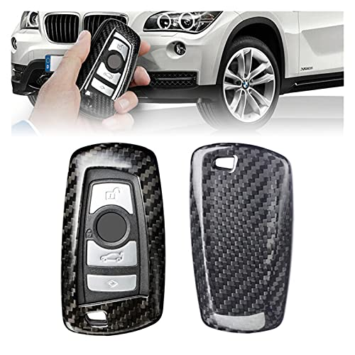 ZHANGZHAO Black Carbon Fiber Car Remote Key Fob Shell Holder Cover Replacement Fit For BMW 1 3 4 5 7 Series X3 (Color : BLACK)