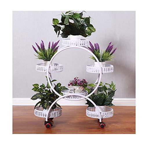 QWERTY Eisen-Kunst-Blumen-Regal Pflanzenregal Balkon Blumenregal Für Wohnzimme Balkon Outdoor (Color : White, Size : Brake universal Wheel)