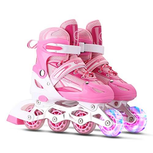 Roeam Inline-Skates Einstellbare Beleuchtende mit leuchtenden Rädern für Mädchen und Jungen, Leises Rollen, Schuhgrößen 27-32, 33-37, 38-41