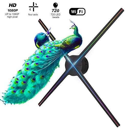 3D holografische projector,25,6 inch 4 stuks messen 1024x1024 1615 LED HD WiFi fan reclame machine met 768 lamp parels voor winkelcentra, restaurants, beurzen, winkels, zwart